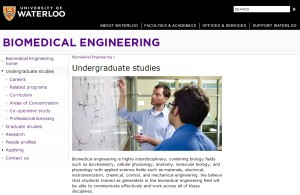 University of Waterloo Biomedical Engineering Website